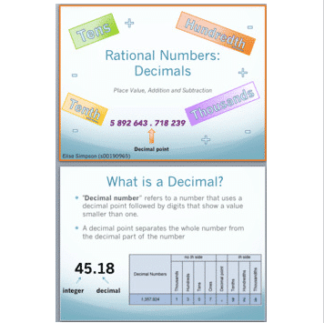 Decimal Place Value Activity Sticks