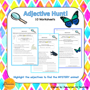 Adjective Hunt Worksheets